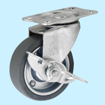 415E And Swivel Caster W/Latch, Iron Plate Wheel Rubber Wrapped Wheel