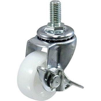 Threaded Type 415Ea Swivel Caster, Nylon Solid Wheel, With Stopper