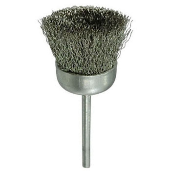 A cup brush with a miniature stainless steel axis