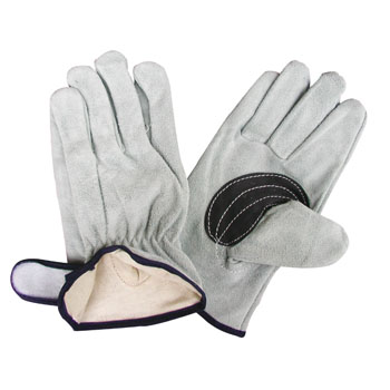 Cow Split Leather Gloves, Back Seam Inner Cotton, Black Lining