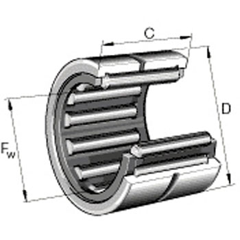 Solid needle roller bearing (no inner ring)