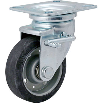 413J Swivel Caster, W Stopper, Iron Plate Wheel, Rubber Car Radial Ball Bearings Case