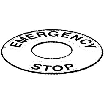 Emergency stop engraving plate for a pushbutton switch