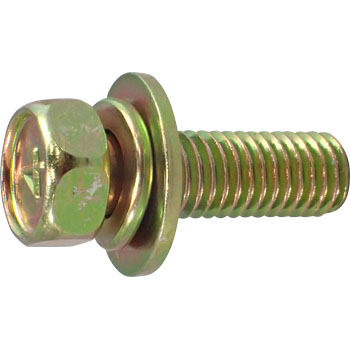 4 Mark Small Hex Head Screw, Upset SP=3, SPAK JIS Washer  Built In, Iron, Chromate