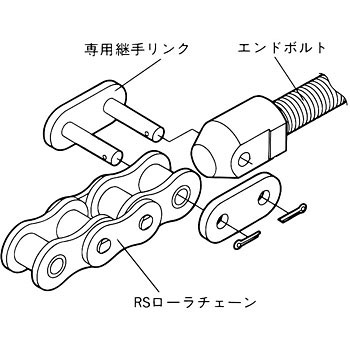 End bolt exclusive fitting link (for RS roller chain)