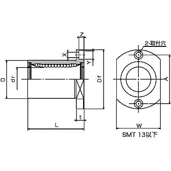 SMT slide bush (single double-sided chamfer flange type)