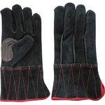 No.4492 black length oil leather hand