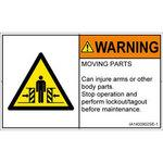 PL warning labels (ISO / SEMI compliant) Mechanical hazards: moving part Note English
